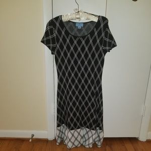 Cece Black & White Plaid Sweater Dress